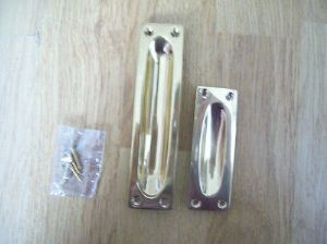 2 SIZES HEAVY SOLID BRASS FLUSH RECESSED DOOR CABINET /DRAWER PULL HANDLES
